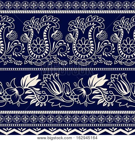 Monochrome striped floral pattern. Contour indian pattern. Paisley pattern. Wallpaper in two colors