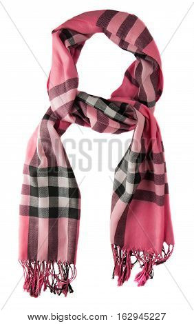 Scarf Isolated On White Background.scarf  Top View .pink Scarf In Black And Gray Cells .