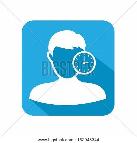 Image that illustrates tracking your time with clock and worker