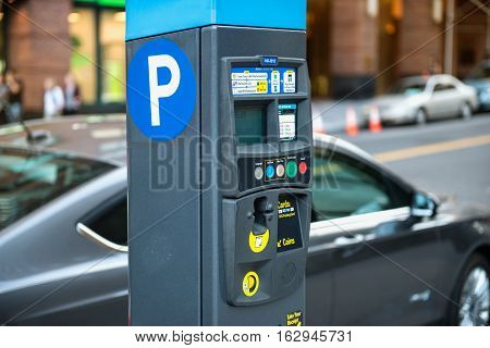 Car and parking machine with electronic payment at New York citi parking
