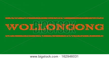 Wollongong watermark stamp. Text tag between horizontal parallel lines with grunge design style. Rubber seal stamp with dirty texture. Vector orange color ink imprint on a green background.