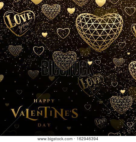 Vector illustration of valentines day golden greeting card with typography text sign, triangle line grid gold heart, love you in heart shape, glitter confetti texture isolated on black in luxury style
