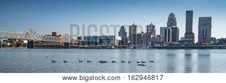 LOUISVILLE, KY - OCTOBER 9, 2016: View of the Louisville Kentucky city skyline from across the Ohio River