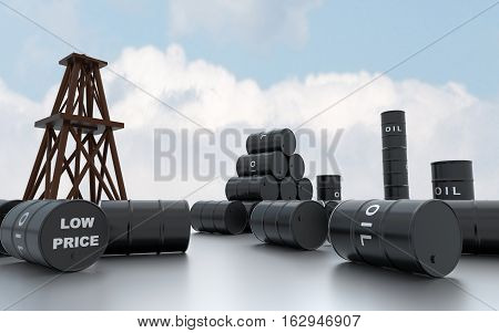 Oil tower and barrels with text oil. 3D rendering.