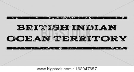 British Indian Ocean Territory watermark stamp. Text caption between horizontal parallel lines with grunge design style. Rubber seal stamp with scratched texture.