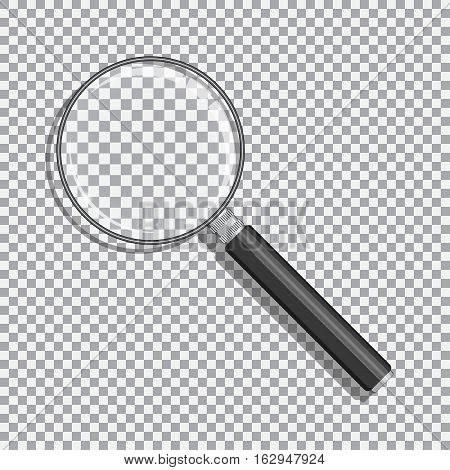 Realistic magnifying glass with transparency. Black handle and opacity background.