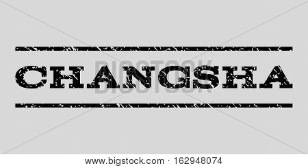 Changsha watermark stamp. Text caption between horizontal parallel lines with grunge design style. Rubber seal stamp with scratched texture. Vector black color ink imprint on a light gray background.