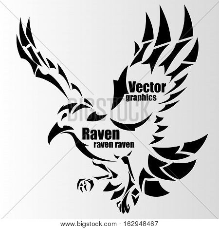 silhouette of a raven with text, art, background,
