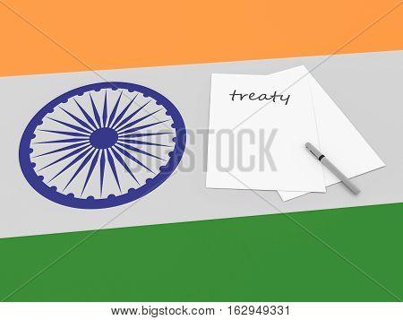 Indian Politics: Treaty Note On India Flag 3d illustration