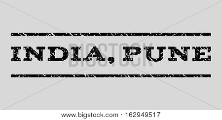 India, Pune watermark stamp. Text caption between horizontal parallel lines with grunge design style. Rubber seal stamp with unclean texture. Vector black color ink imprint on a light gray background.