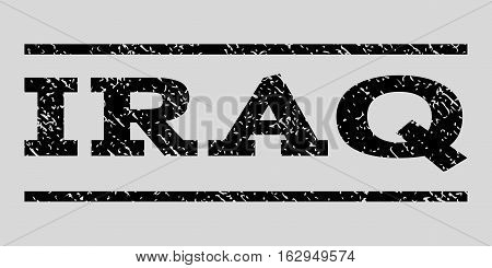 Iraq watermark stamp. Text tag between horizontal parallel lines with grunge design style. Rubber seal stamp with scratched texture. Vector black color ink imprint on a light gray background.