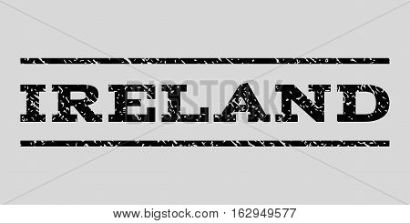 Ireland watermark stamp. Text tag between horizontal parallel lines with grunge design style. Rubber seal stamp with dirty texture. Vector black color ink imprint on a light gray background.
