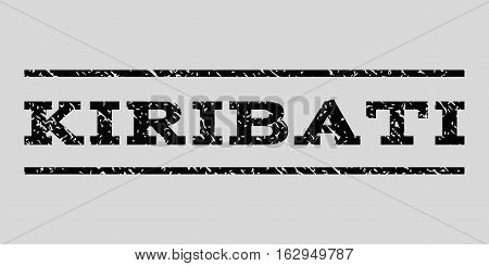 Kiribati watermark stamp. Text tag between horizontal parallel lines with grunge design style. Rubber seal stamp with unclean texture. Vector black color ink imprint on a light gray background.