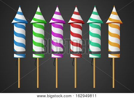 Firework Rocket Isolated for parties, fireworks, bright, green, blue, red, yellow, purple,