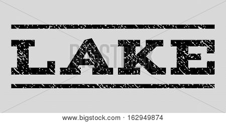 Lake watermark stamp. Text tag between horizontal parallel lines with grunge design style. Rubber seal stamp with unclean texture. Vector black color ink imprint on a light gray background.