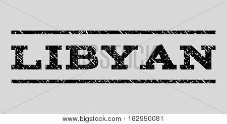 Libyan watermark stamp. Text tag between horizontal parallel lines with grunge design style. Rubber seal stamp with scratched texture. Vector black color ink imprint on a light gray background.