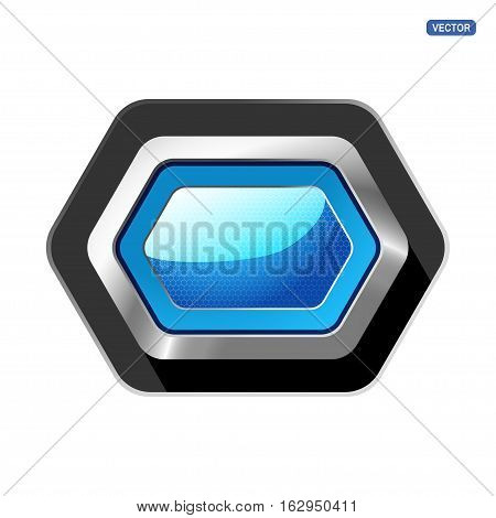 Vector glass blue stretched button with glow and mesh pattern on the hexagon metal base with shadow.