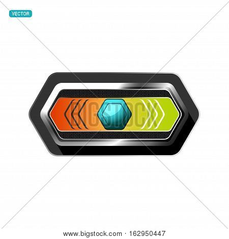 Vector glass turquoise stretched switch with glow and mesh pattern on the hexagon metal base with shadow.