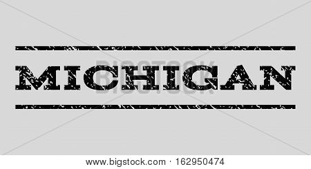 Michigan watermark stamp. Text caption between horizontal parallel lines with grunge design style. Rubber seal stamp with dirty texture. Vector black color ink imprint on a light gray background.
