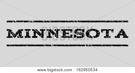 Minnesota watermark stamp. Text caption between horizontal parallel lines with grunge design style. Rubber seal stamp with dirty texture. Vector black color ink imprint on a light gray background.