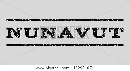 Nunavut watermark stamp. Text caption between horizontal parallel lines with grunge design style. Rubber seal stamp with dirty texture. Vector black color ink imprint on a light gray background.