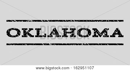 Oklahoma watermark stamp. Text tag between horizontal parallel lines with grunge design style. Rubber seal stamp with dust texture. Vector black color ink imprint on a light gray background.