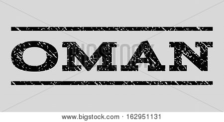 Oman watermark stamp. Text caption between horizontal parallel lines with grunge design style. Rubber seal stamp with dust texture. Vector black color ink imprint on a light gray background.