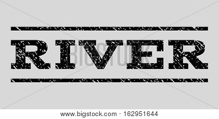 River watermark stamp. Text tag between horizontal parallel lines with grunge design style. Rubber seal stamp with dirty texture. Vector black color ink imprint on a light gray background.