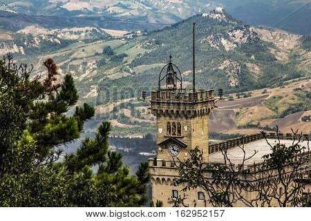 Liberty statue and Public Palace on Town hall square in San Marino state castle, Italy