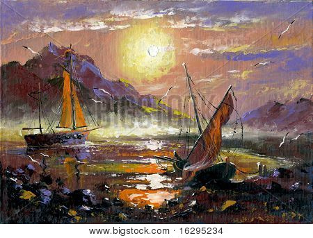 The sea landscape executed by oil on a canvas