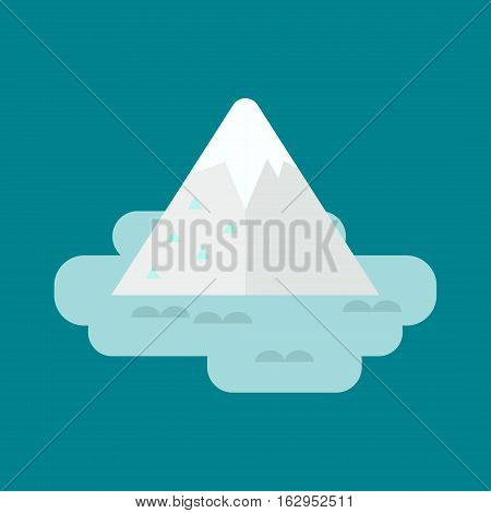 Apparently cheating, very big underwater iceberg in middle of ocean. Cold water nature blue, landscape. Vector antarctica freeze winter mountain melting.