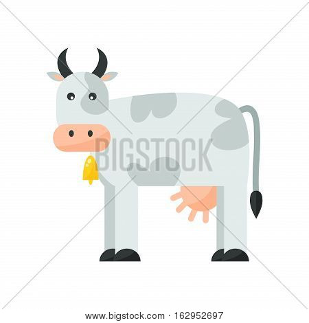 Milk cow bull with calf buffalo. Dairy farm beef, nature domestic animal. Cartoon action, with cute lovely heifer vector. Grazing pasture silhouette vertebrate.