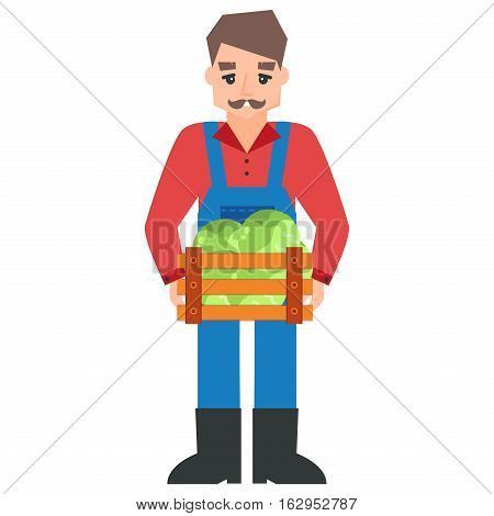Harvest country farmer and organic healthy natural. Standing worker business agricultural industry. Mustache character holding box of vegetables.