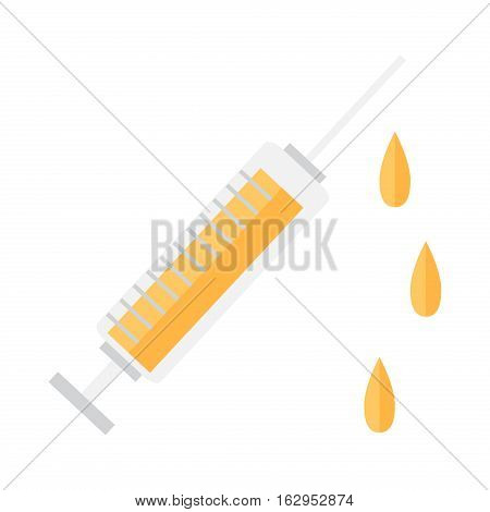 Syringe vector icon cure clinic illustration tool. Medicine needle drug vaccination immunization sign. Health injection pharmacy care vector equipment.