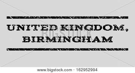 United Kingdom, Birmingham watermark stamp. Text caption between horizontal parallel lines with grunge design style. Rubber seal stamp with scratched texture.