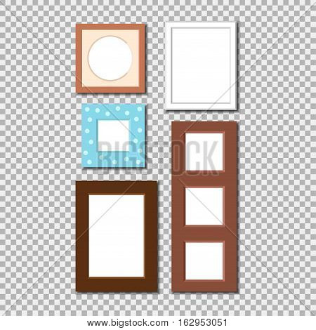 Antique photo frame isolated. Vintage cartoon picture painting or drawing template icon set retro design vector illustration. Stylish wall gallery background.