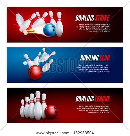 Bowling banner set design. Bowling strike champ club. Sport league players poster.