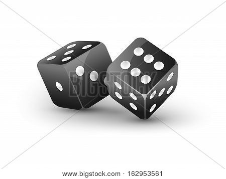 Dice vector design isolated on white. Two dice casino gambling template concept. Casino background.