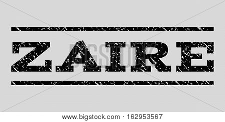 Zaire watermark stamp. Text tag between horizontal parallel lines with grunge design style. Rubber seal stamp with dust texture. Vector black color ink imprint on a light gray background.