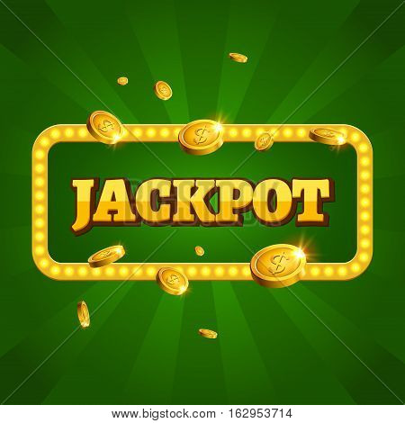 Jackpot casino label background sign. Casino jackpot coins money winner text shining symbol isolated on white.