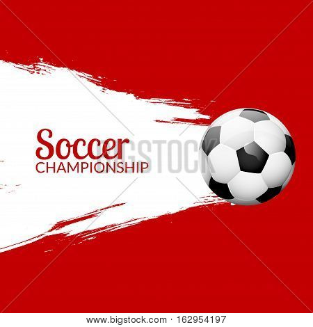 Football or soccer design poster with grunge backdrop. Football banner design template.