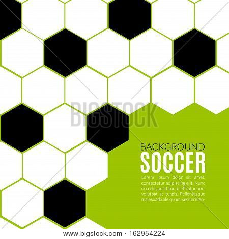 Soccer hexagonal background design template. Football or soccer poster banner layout.