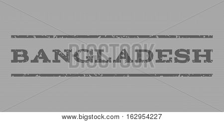 Bangladesh watermark stamp. Text tag between horizontal parallel lines with grunge design style. Rubber seal stamp with dirty texture. Vector dark gray color ink imprint on a silver background.