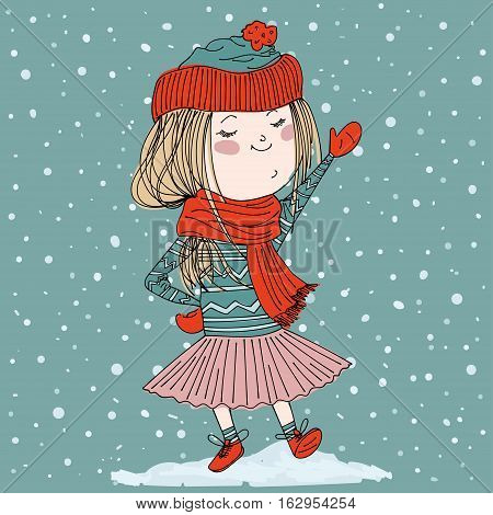 cute girl wearing warm winter clothes: sweater, hat, tutu, mittens, scarf and booties. cartoon winter background with snowfall