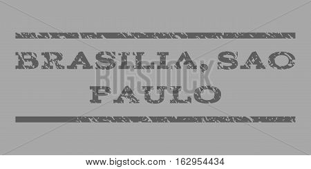 Brasilia, Sao Paulo watermark stamp. Text tag between horizontal parallel lines with grunge design style. Rubber seal stamp with dust texture.