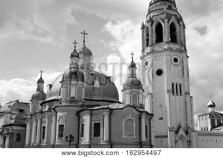 Resurrection Cathedral in Vologda Kremlin Russia. Black and white.