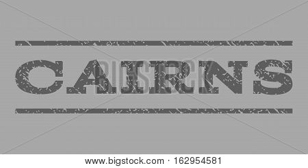 Cairns watermark stamp. Text caption between horizontal parallel lines with grunge design style. Rubber seal stamp with scratched texture. Vector dark gray color ink imprint on a silver background.