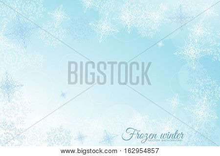 Vector Frozen winter abstract light blue background with radiance and snowflakes.
