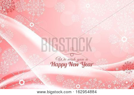 Vector We wish you a Happy New Year abstract light red background with waves and snowflakes.