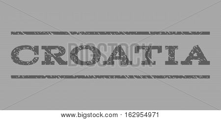 Croatia watermark stamp. Text tag between horizontal parallel lines with grunge design style. Rubber seal stamp with scratched texture. Vector dark gray color ink imprint on a silver background.
